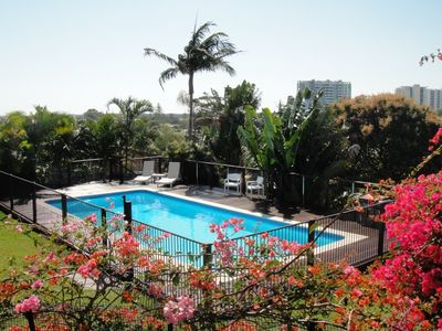 Labrador house rental - Large, fully fenced pool with incredible views!