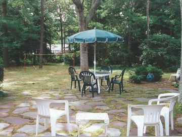 Flagstone patio in back