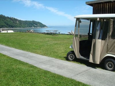 Top of the line golf cart to bring you and your belongings to the cabin.