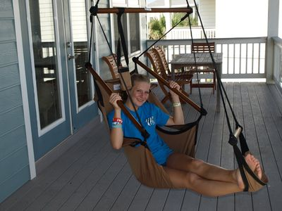 Hammock chairs on deck