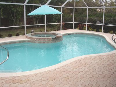 West Naples house rental - Updated heated pool, paved deck, lanai & fenced yard, very private.