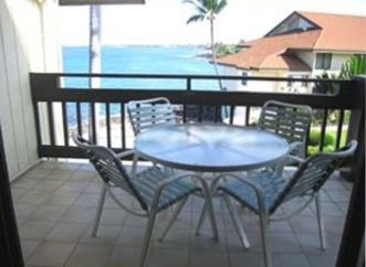 Lanai/Balcony with view of Pool, Jacuzzi, Ocean and Kailua Kona Bay