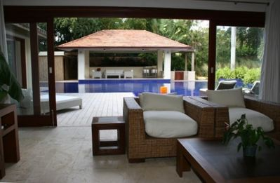 Casa De Campo villa rental - Media room opens to patio and overlooks pool and gazebo.