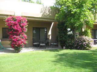 Cathedral City condo photo - Patio with Flowering Bougainville Bush