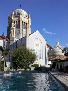 View of Church from 40'x10' solar-heated saltwater lap pool (swimmer's-eye view)