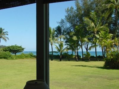 Your view from the living room looking across the lawn to Hanalei Bay.