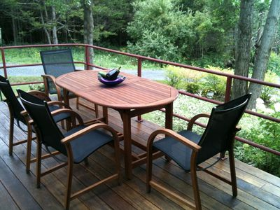 Enjoy a relaxing moment on the new mahogany deck