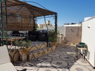 private roof terrace sea view pool 1km to the center 200m beach free wifi