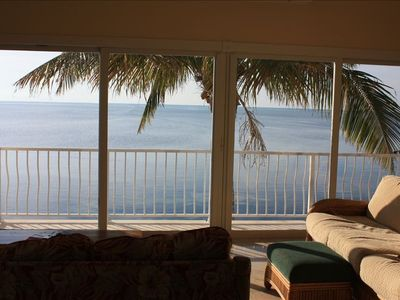 Wonderful views form the living room. You won't miss the dolphins swimming by.