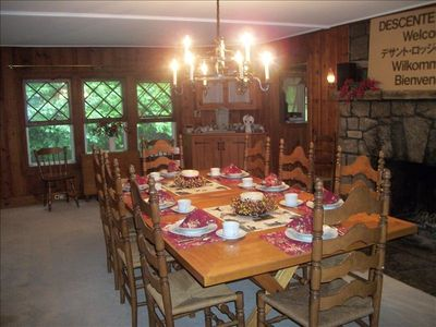 Lake Placid lodge rental - Large diningroom table with 2nd dropleaf table available.