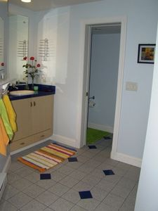 Fletcher apartment rental - Bathroom ensuite with walk-in shower and storage space.