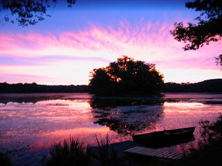 Stanfordville cottage photo - morning sunrise on Twin Island Lake from cabin's shoreline