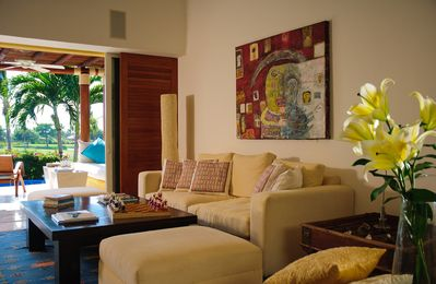 The Living room invites relaxation and casual get-togethers.