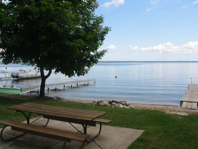 Black Lake house rental - Picnic table area facing facing East over the lake