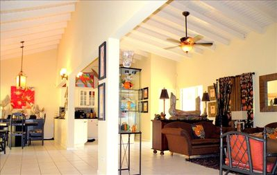 View of great room: living, kitchen, dining and sun rooms- 3 ceiling fans, 2 A/C