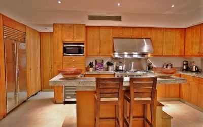 Amazing gourmet kitchen with high-end appliances.