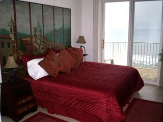 Majestic Sun condo rental - View of the Beach from the Comfortable Master Bedroom w/television