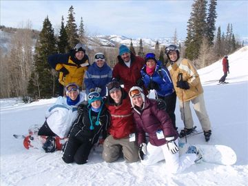Our extended family having fun on the slopes