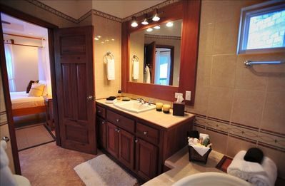 Ambergris Caye condo rental - Luxurious Master Bath with Shower and Jacuzzi Tub - Hair Dryer Provided!