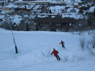 Skiing to the condo on the Quittin' Time Run at Park City Mountain Resort.