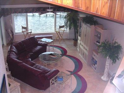 Spacious living area with intercoastal water view