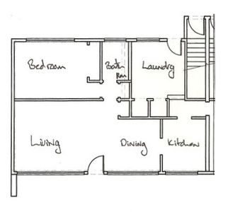 The unit floor plan - The Harrison Modern Vacation Rental Unit