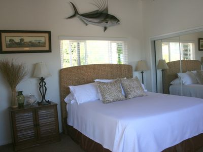 Master bedroom features new Cal King mattress, ocean view! Flat screen/DVD/SAT