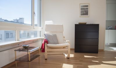Welcoming, sunny top floor studio near city center
