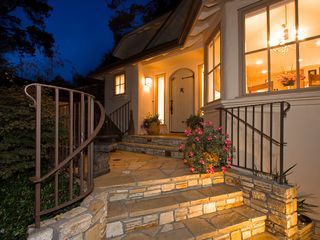 Carmel house photo - Carmel flagstone steps lead past the teak & stone benches and soothing fountains