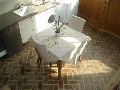 Kitchen and stone floors