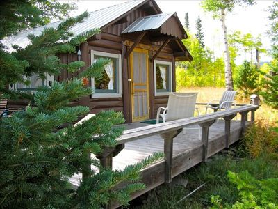 West Yellowstone house rental - Detached cabin porch for enjoying the scenery