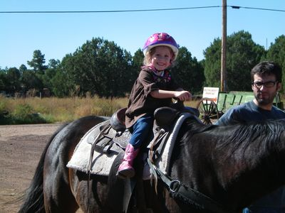 Our Grandaughter, Addison's, first ride on a horse