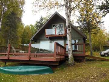 Wasilla cabin rental - Viewed from lakeside, showing unobstructed view by way of clear glass handrails