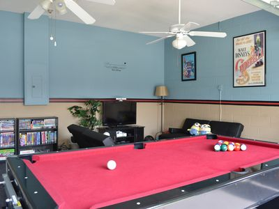 Game room with Xbox Kinect, Pool, Games and Movies.
