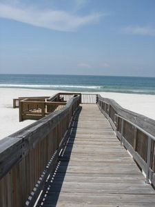 Free parking and a boardwalk over the dunes makes for easy access.