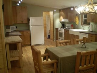 Birchwood cabin photo - New Kitchen with large sink and log table