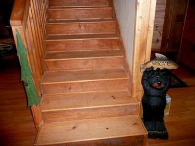 """Beary"" welcome at stairs leading to upper level . . ."