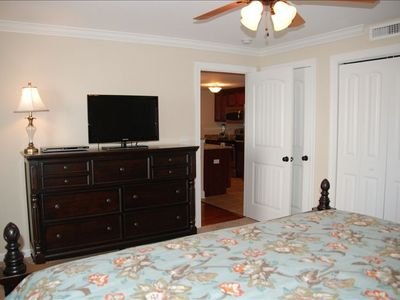 Master bedroom facing main room, has cable tv and dvd player