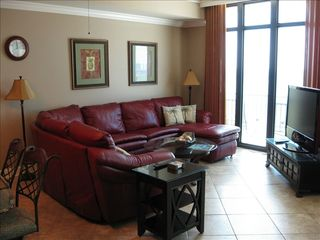 Orange Beach condo photo - Living room with HD TV and sleeper sofa