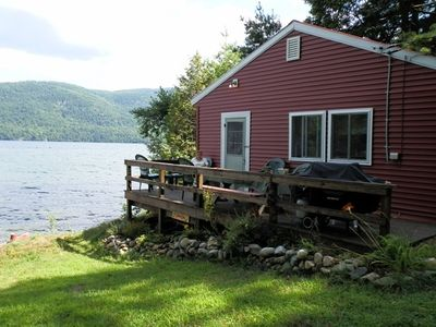 The cabin is right on the lake...