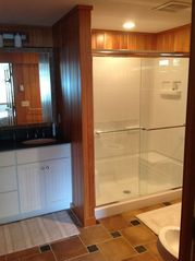 Provincetown townhome photo - The master spa bath features a huge shower and Scandinavian cedar paneling