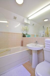 Main Bathroom: Shower over Bath, Basin & WC. Soap, Shampoo, ShowerGel, Paper inc