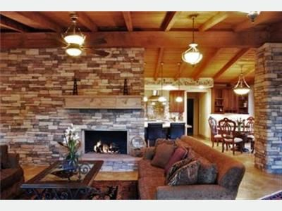Living Room Fireplace with Stone Fireplace