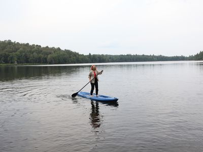 Fun on the Stant-Up Board. Good place to do some yoga. It can also be a kayak.
