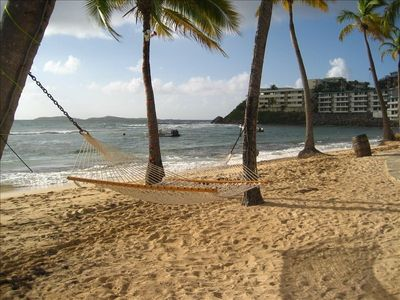 PUT YOURSELVES IN THIS ROMANTIC SEASIDE HAMMOCK FOR 2 ON OUR 1000FT SANDY BEACH