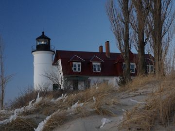 Nearby and famous Point Betsie Lighthouse standing guard over Lake Michigan.