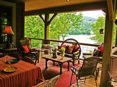 Great outside dining and lounging porch with fabulous lake views