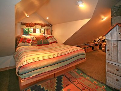 Sleeping Loft with Full Bed and Library