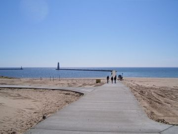 The Frankfort Beach and walk to the Frankfort lighthouse.