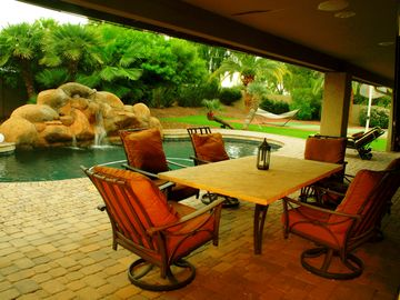 McCormick Ranch Scottsdale house rental - Resort style backyard, including heated pool, basketball and two mounted HD TVs